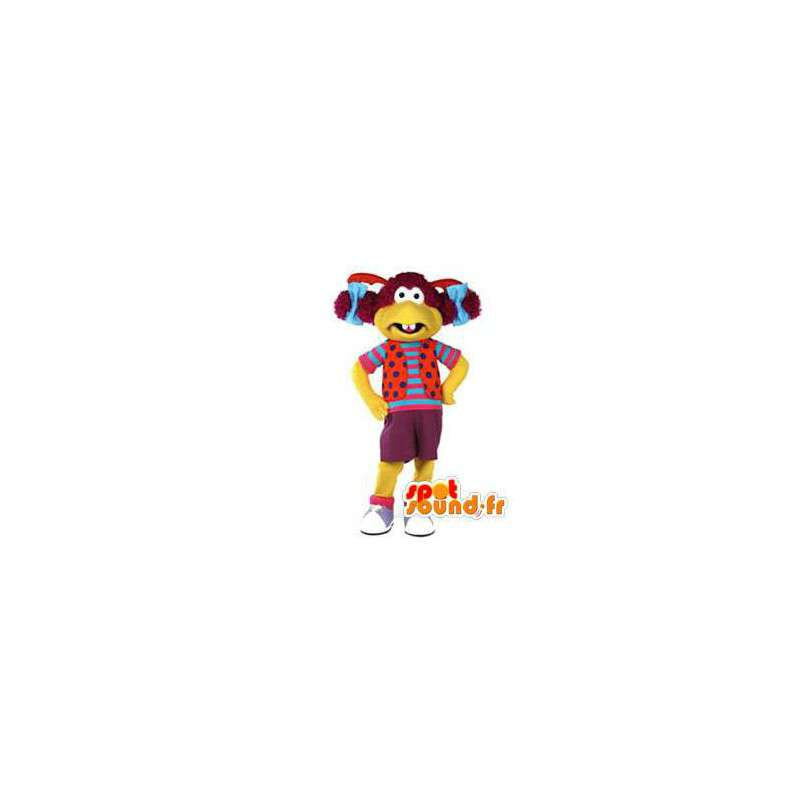 Snowman mascot yellow dress and colored hair - MASFR002929 - Human mascots