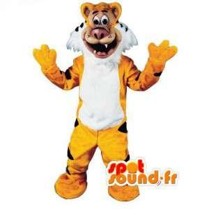 Gul tiger maskot, sort og hvid - Tiger kostume - Spotsound