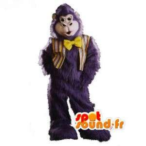 Mascotte de gorille bleu gris tout poilu - Costume de gorille