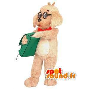 Tan hond mascotte, harig, bril - Hond Kostuums - MASFR002940 - Dog Mascottes