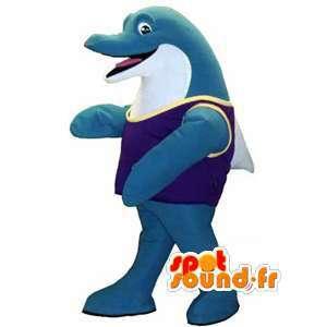 青いイルカのマスコット-巨大なイルカの衣装-MASFR002944-イルカのマスコット