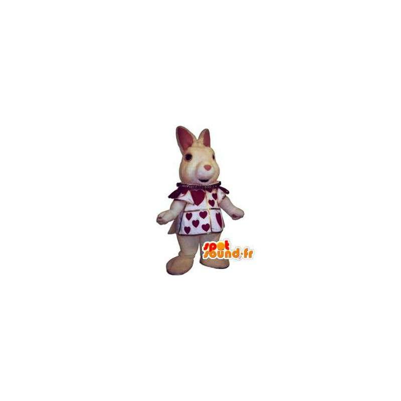 Mascota de conejo realista con su traje con el corazón - MASFR002950 - Mascotte de lapins