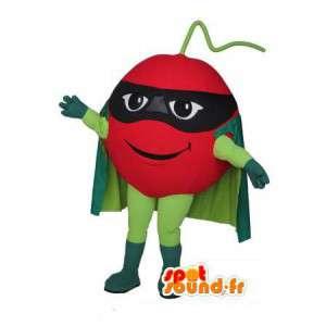 Super tomatmaskot med en grön cape - Super tomatdräkt -