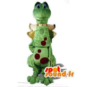 Green dragon mascot red polka dot - Dinosaur Costume - MASFR002956 - Dragon mascot