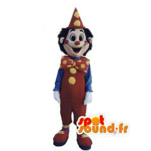 Mascot clown rood, geel en blauw - gekleurde clown kostuum