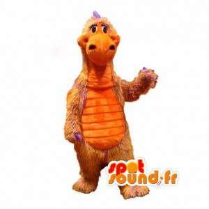 Dinosaurier-Maskottchen haarige orange und lila - Dinosaurier-Kostüm - MASFR002976 - Maskottchen-Dinosaurier