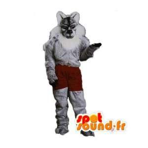 Mascot grauen und weißen Fell Tiger - Tiger Kostüm - MASFR002978 - Tiger Maskottchen