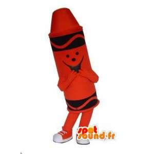 Röd pastellmaskot - Röd pastellpennadräkt - Spotsound maskot