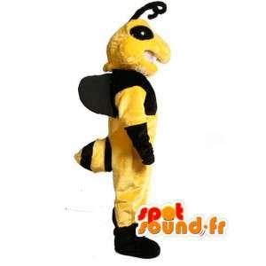 Maskotti keltainen ja musta ampiainen - ampiainen puku
