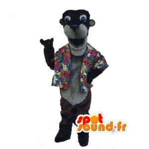 Otter mascot shaped with a Hawaiian shirt with flowers - MASFR002988 - Mascots of plants