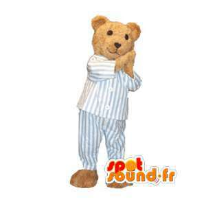 Teddy maskot kledd i pyjamas - Teddy Costume - MASFR002990 - bjørn Mascot