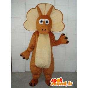 Mascotte stégosaure - Petit dinosaure avec ceinture marron