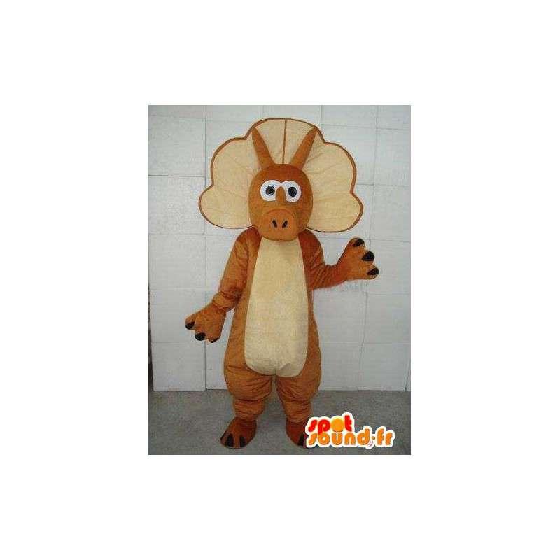 Mascot stegosaurus - Kleine dinosaurus met bruine riem - MASFR00238 - Dinosaur Mascot