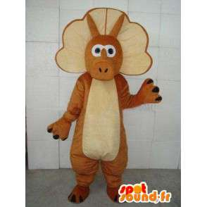 Stegosaurus mascot - Small dinosaur with brown belt - MASFR00238 - Mascots dinosaur