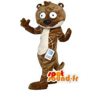 Mascot nutria marrón y forma de dibujos animados en blanco