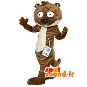 Otter mascot cartoon brown and white way
