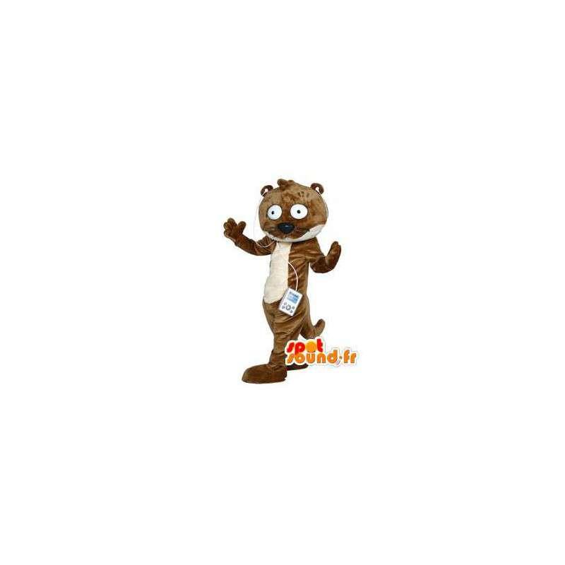 Mascotte de loutre marron et blanche façon cartoon - MASFR002995 - Mascottes de l'océan