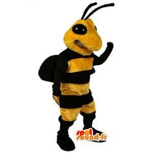 Mascotte gele en zwarte wesp - wesp kostuum