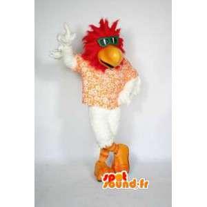 Ptak maskotka moda w kwiecistą koszulę i zielone okulary - MASFR003034 - ptaki Mascot