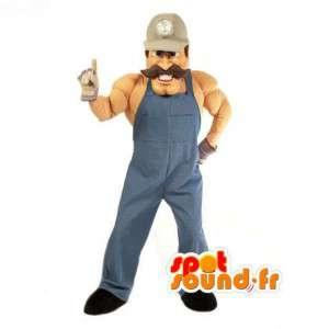 Mascot Handyman Muskel Schnurrbart - Kostüm Arbeiter - MASFR003037 - Menschliche Maskottchen