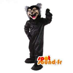 Svart och grå björn maskot plysch - Svart björn kostym -