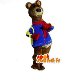 Brunbjörnmaskot klädd i vinterdräkt - Björndräkt - Spotsound