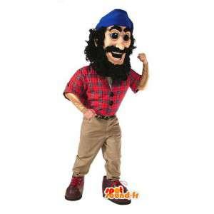 Pirate μασκότ με κόκκινο πουκάμισο και μπλε μαντήλι  - MASFR003064 - μασκότ Πειρατές