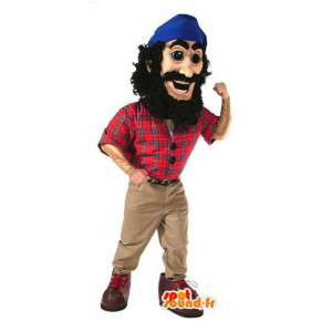 Piratmaskot i rød skjorte og blå bandana - Spotsound maskot