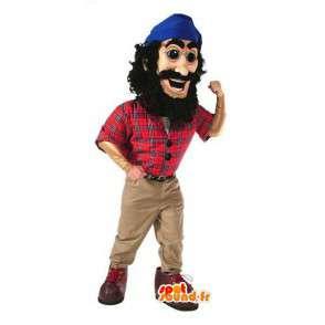 Mascot piraat in rood shirt en blauwe bandana  - MASFR003064 - mascottes Pirates