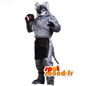 Grey Wolf Mascot branco peludo - Traje do lobo - MASFR003065 - lobo Mascotes