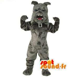 Maskotti harmaa bulldoggi - bulldog puku - MASFR003069 - koira Maskotteja