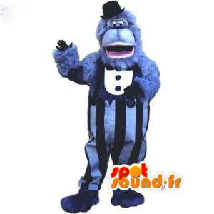 Maskotti sininen harmaa karvainen gorilla kaikki - Gorilla puku