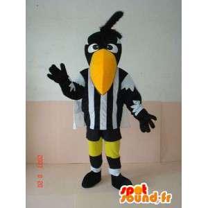 Pelican mascotte gestreepte zwart en wit - vogelkostuum scheidsrechter