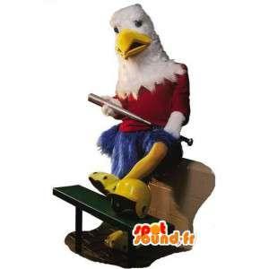 Mascot blauwe adelaar, rood en wit - de reusachtige vogel kostuum