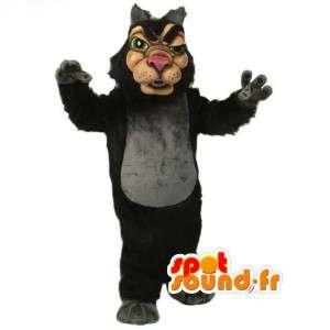 Svart varg maskot tecknad sätt - Wolf kostym - Spotsound maskot