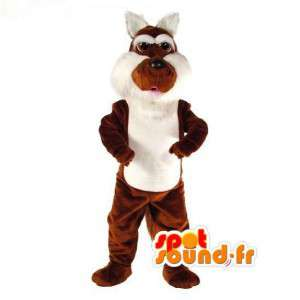 Mascot brown and white rabbit - Rabbit Costume Plush