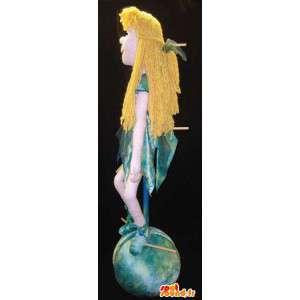 緑と青のドレスを着た金髪の妖精のマスコット-妖精の衣装-MASFR003121-妖精のマスコット