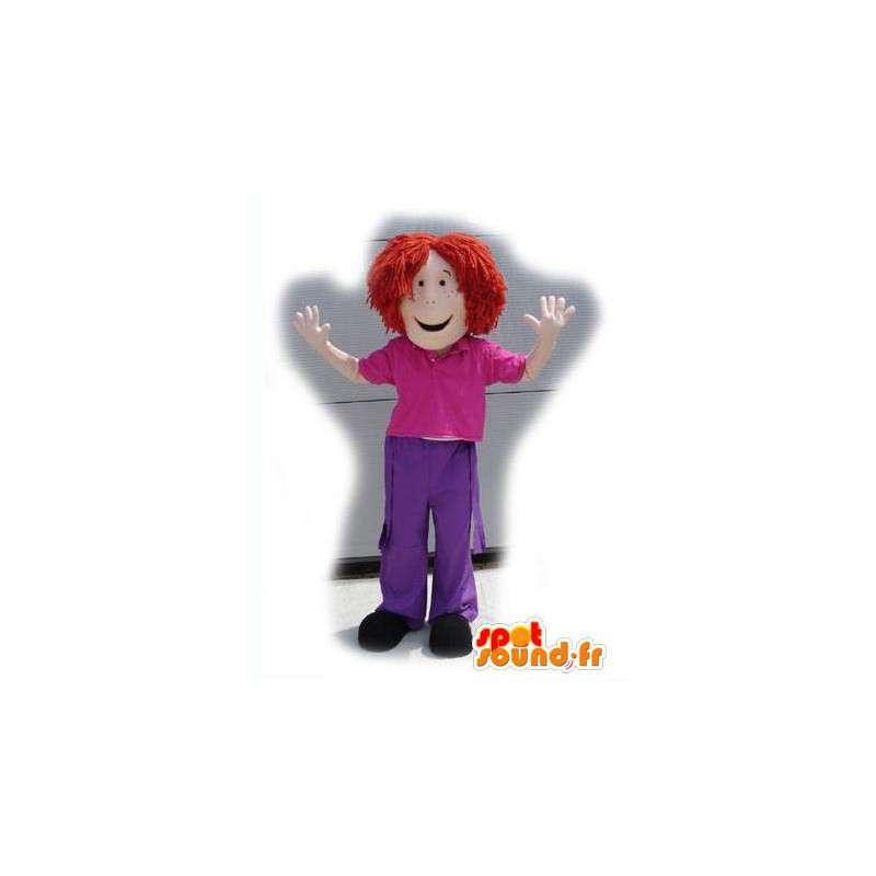 Mascot chica pelirroja vestida de rosa y púrpura - MASFR003123 - Chicas y chicos de mascotas