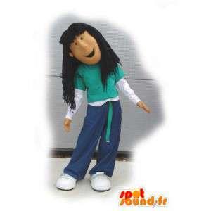 Brun jente maskot stil hip-hop - Kostyme av hip-hop