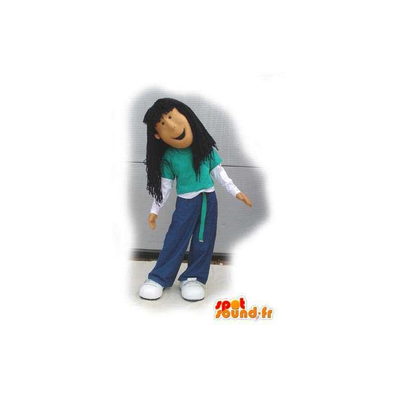 Brown girl mascot hip-hop - hip hop Costume - MASFR003124 - Mascots boys and girls