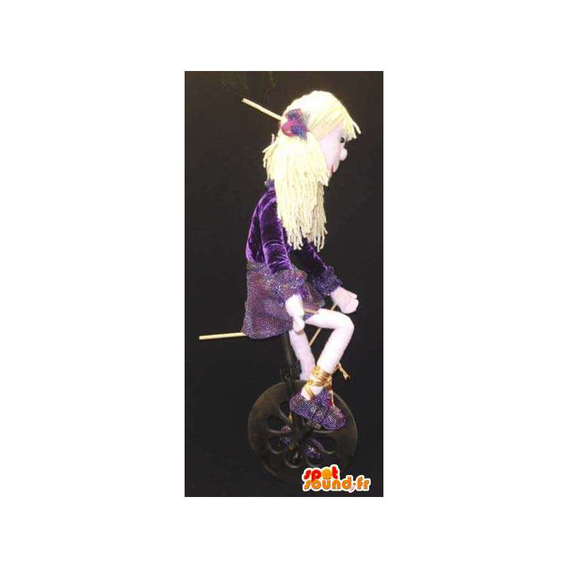 Mascot blond girl in purple dress with glitter - Costume show - MASFR003127 - Mascots boys and girls