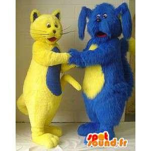 Maskottchen gelbe Katze und blaue Hund - Packung mit 2 Suiten - MASFR003136 - Hund-Maskottchen