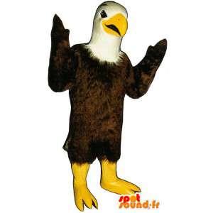 Mascotte d'aigle marron blanc et jaune - Costume d'aigle - MASFR003138 - Mascotte d'oiseaux
