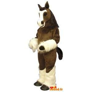 茶色と白の馬のマスコット - 馬のコスチュームぬいぐるみ