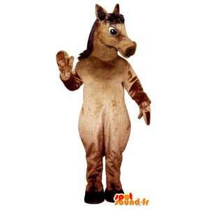 καφέ άλογο μασκότ γιγαντιαίο μέγεθος - κοστούμι άλογο
