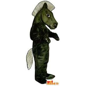 Μασκότ καφέ άλογο / πράσινο γίγαντα - πράσινο κοστούμι άλογο