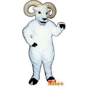 Biały baran maskotka z jego rogów - staranować Costume