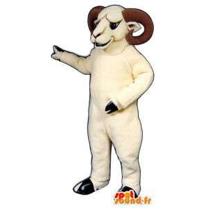 Bílá ram maskot s jeho rohy - ram Kostým