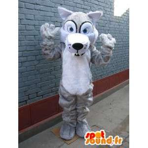 Mascotte lupo con gli occhi azzurri e pelo bianco - festa in maschera