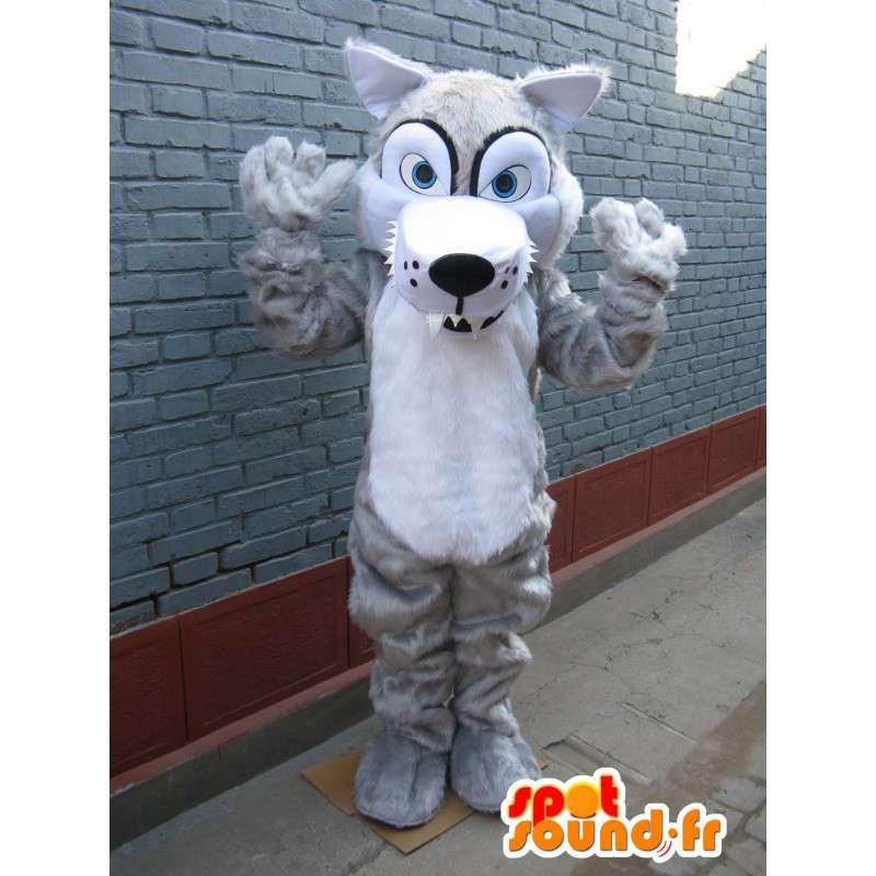 Wolf Mascot sinisilmäinen ja valkoinen turkis - Ilta Suit - MASFR00245 - Wolf Maskotteja